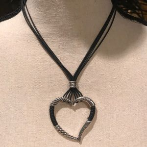 Brighton black chord heart necklace- - heart is 2""